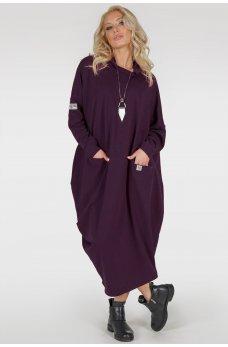Платье оверсайз цвета марсала ассиметричного покроя