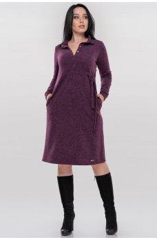 Повседневное платье рубашка фиолетового цвета