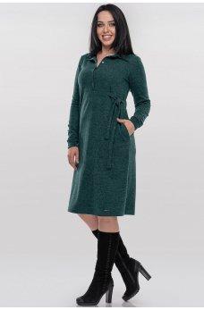 Повседневное платье рубашка зеленого цвета