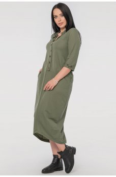 Повседневное платье мешок цвета хаки