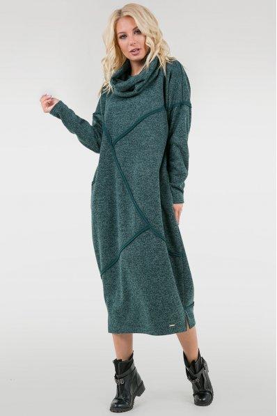 Теплое платье оверсайз зеленого цвета