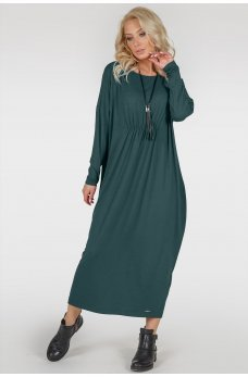 Зеленое платье оверсайз со сборочкой