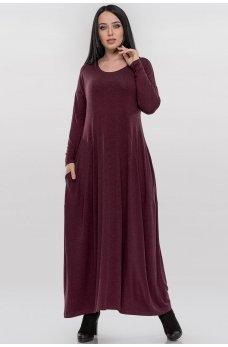 Женственное платье в стиле оверсайз бордового цвета