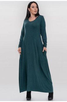 Женственное платье в стиле оверсайз зеленого цвета