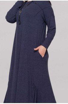Женственное платье оверсайз синего цвета