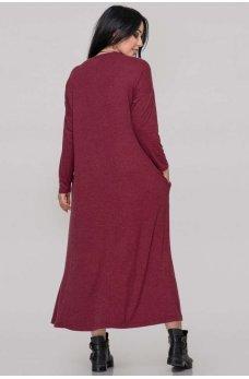 Женственное платье оверсайз бордового цвета