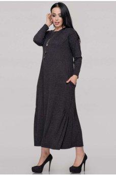 Женственное платье оверсайз темно-серого цвета