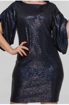 Женственное платье футляр с пайетками синего цвета