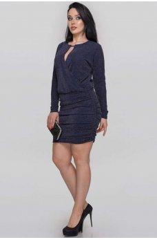 Платье футляр синего цвета из люрексовой ткани