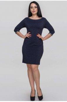Синее элегантное платье-футляр