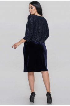 Синее праздничное платье миди