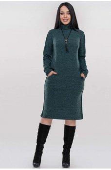 Зеленое теплое платье миди с начесом