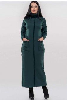Зеленое теплое повседневное платье макси