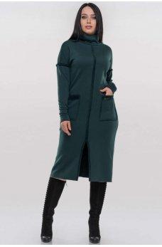 Зеленое трикотажное платье-гольф