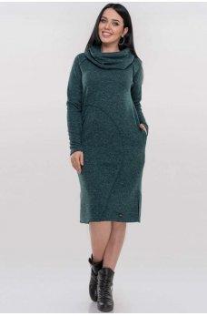 Зеленое батальное платье миди