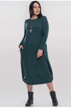 Зеленое теплое платье с начесом
