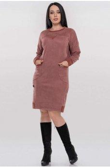 Повседневное теплое платье мешок цвета пудры