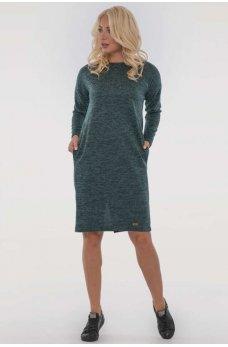 Зеленое теплое однотонное платье