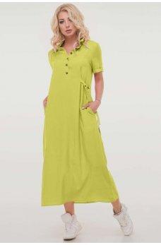 Летнее платье рубашка салатового цвета из штапеля