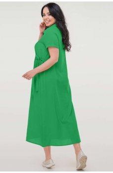 Зеленое летнее платье рубашка из штапеля