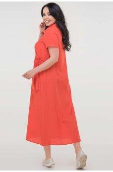 Коралловое летнее платье рубашка из штапеля