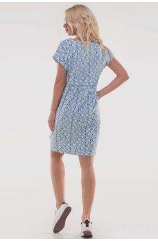 Голубое оригинальное платье с принтом