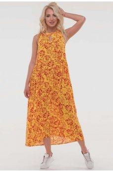 Желтое яркое свободное платье