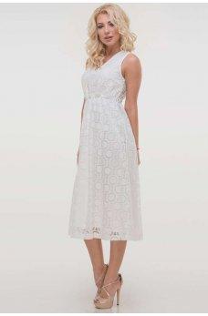 Молочное изящное платье миди