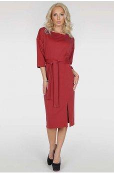Красное элегантное платье миди с поясом