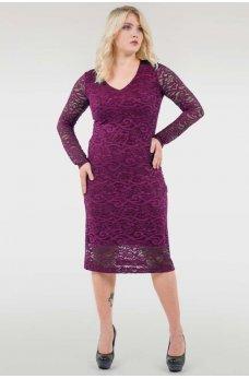 Женственное батальное платье-футляр цвета фуксия
