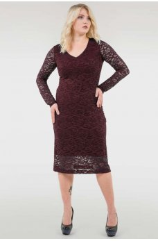 Бордовое эфектное женское платье