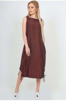 Платье мешок коричневого цвета из полированного коттона