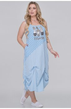 Голубое летнее платье мешок с принтом