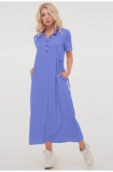 Летнее платье-рубашка джинсового цвета