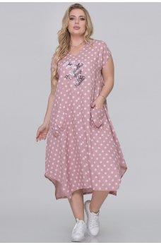 Летнее платье-трапеция фрезового цвета