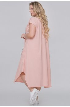 Персиковое летнее платье-трапеция