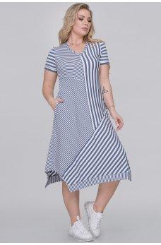 Летнее платье-трапеция джинсового цвета в полоску