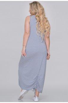 Летнее длинное платье джинсового цвета в полоску