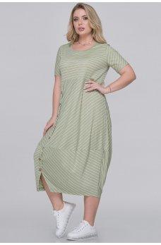 Оливковое летнее платье в полоску