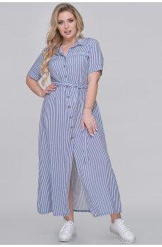 Летнее платье-рубашка джинсового цвета в полоску