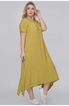 Горчичное летнее платье-трапеция