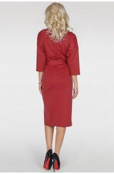 Бордовое коктейльное платье с расклешённой юбкой