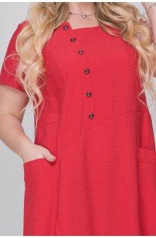 Красное летнее платье мешок