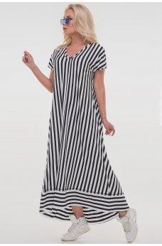 Черное стильное длинное платье в полоску