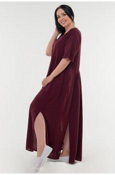 Летнее платье балахон цвета марсала