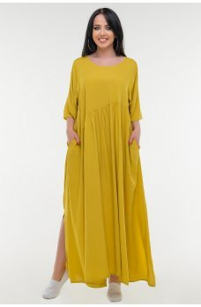 Горчичное летнее платье балахон