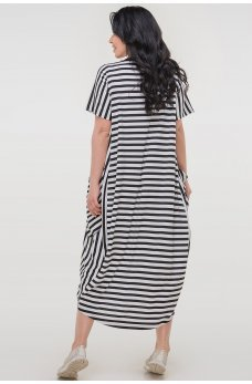 Черное стильное платье в белую полоску