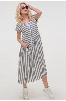 Серое летнее платье в белую полоску