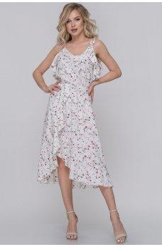 Летнее платье с юбкой на запах белое