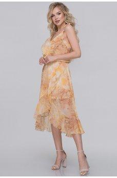 Летнее шифоновое платье с юбкой на запах горчичный принт